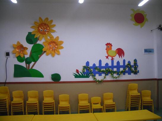 各个班级的墙面上不仅展示的是教师的手工作品,更重要的是与课程相